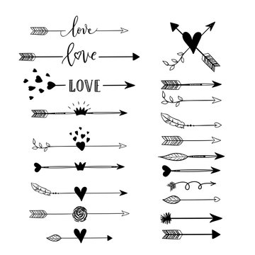 Handdrawn arraws, borders set with hearts, crown, wings, love for Valentines Day and wedding greeting cards, posters. Vector icon.