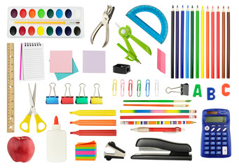 Collection of various school supplies, isolated on white background.