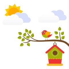 cartoon bird with birdhouse on a branch vector