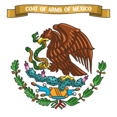 Vector illustration on theme Mexican Coat of Arms, heraldic shield on national state emblem and symbol of Mexico - golden eagle, on ribbon title text: coat of arms of mexico, mexican official heraldry