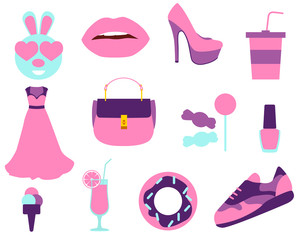 Set stickers beauty and fashion. Vector illustration