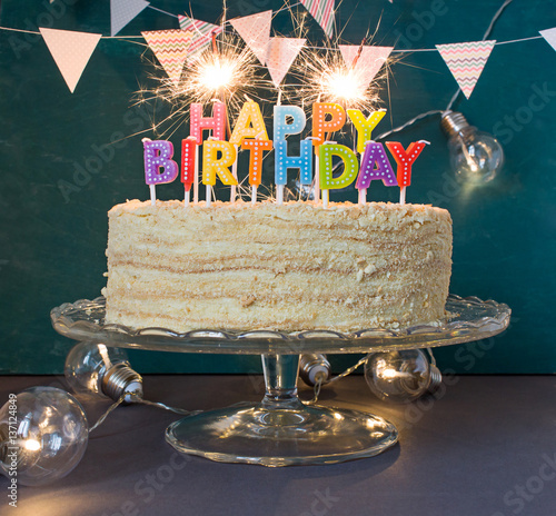 Happy Birthday Cake With Sparklers Greeting Card