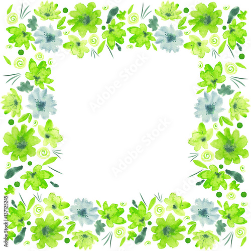 Green watercolor flowers, leaves, dots spirals and decorative ...