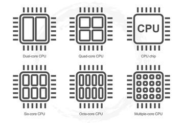 Processor Icon Set. Dual Quad Six Octa core cpu icons. Multi-core processor line icon. Main element of computer. Vector illustration.