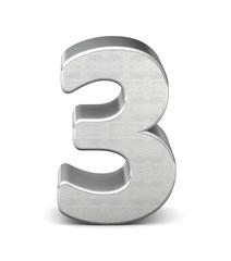 3 zahl silber 3d number silver struktur
