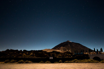 Night Sky Landscape at volcano Teide in Tenerife
