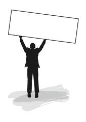 Silhouette - Mann hält Schild hoch