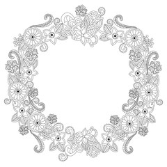 Flower frame oval coloring book vector illustration