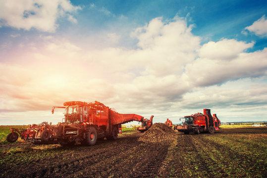 tractors working in the field. Carpathians. Ukraine Europe