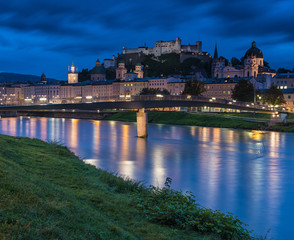 View on Salzburg and its castle in Austria