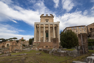 Antoninus and Faustina Temple in the Roman Forum, Rome, Italy.