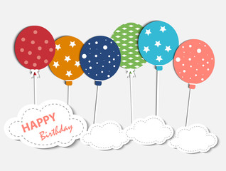 Abstract Happy Birthday card with balloons