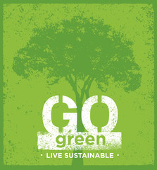 Eco Green Sustainable Living Creative Organic Vector Banner Concept On Rough Background