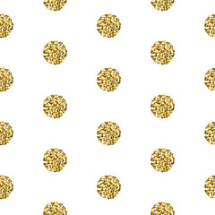Gold foil shimmer glitter polkadot white seamless pattern. Vector shimmer abstract circles golden texture. Sparkle shiny balls background.