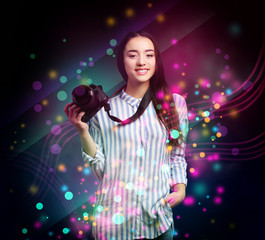 Professional photographer on dark background. Creative design