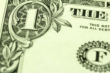 US one dollar bill close up macro, 1 usd banknote, united states money