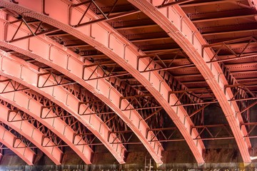 Iron girder arches underneath the victorian era construction Princes Bridge over the Yarra River in Melbourne, Australia
