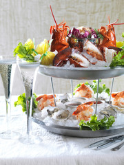 Seafood platter and glasses of champagne