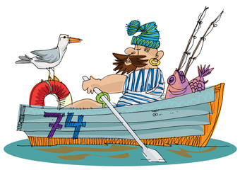 fisher in paddle boat - cartoon
