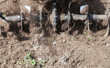 Loosens the soil cultivator close-up