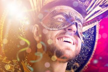 Guy wearing carnival costume