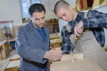 Young men in woodworking room