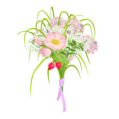 Beautiful and elegang Pink Flowers isolated on white background
