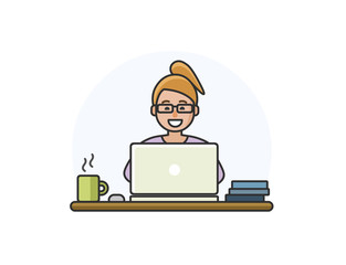Vector illustration of cartoon woman character working on computer