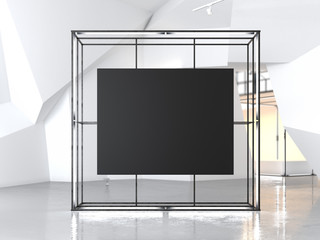 Gowing showcase with blank black canvas. 3d rendering