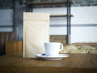 Paper bag and white cup. 3d rendering