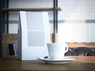 Blank paper bag and white cup . 3d rendering