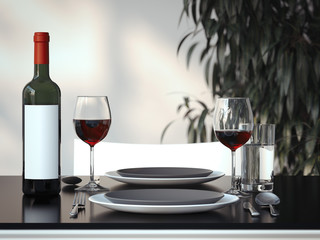 Table setting with two glasses. 3d rendering