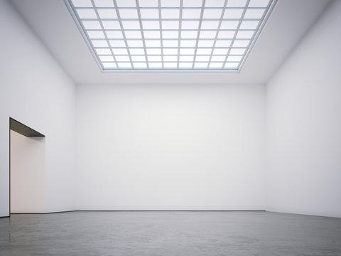 Bright modern gallery. 3d rendering