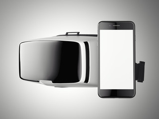 VR virtual reality headset with smartphone. Side view. 3d rendering