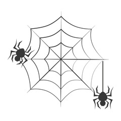 monochrome background halloween and spiders vector illustration