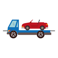 color silhouette with tow truck vector illustration