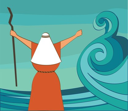Mozes splitting the red sea and ordering let my people go out of Egypt. vector and illustration