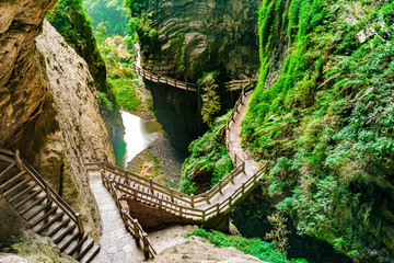 Longshuixia Fissure Gorge in Wulong country, Chongqing, China