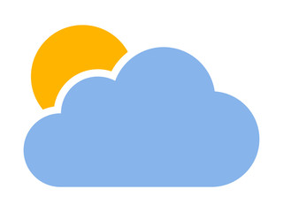 Cloudy or cloud partly blocking the sun flat color vector icon for weather apps and websites
