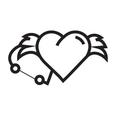 Love Hearts wings pen tool design
