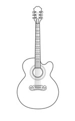 Beautiful acoustic guitar in a loop on a white background
