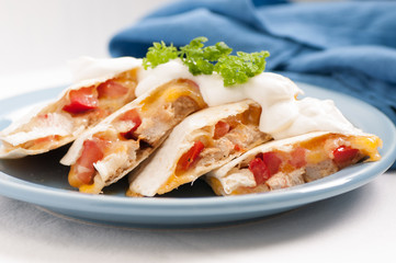 home made quesadilla with sour cream
