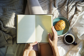 Woman Reading Book Novel On Bed Breakfast Morning