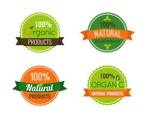 Set of organic and nature food logos and labels.