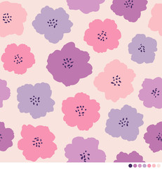 Cute abstract floral vector pattern background