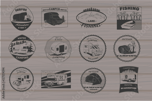 Vintage Camping And Outdoor Adventure Emblems Logos Badges Equipment Camp Trailer