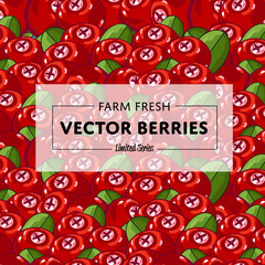 Organic farm fruit square banner with berry vector illustration. Natural fruit background, organic farming promo, vegan food retail poster. Healthy farm fruit advertising backdrop with berry pattern