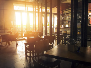 Coffee Cafe interior with harsh sunset light