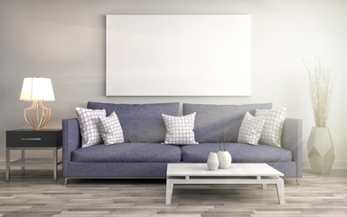 Mock up blank poster on the wall of interior with sofa. 3D Illustration