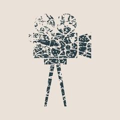 Retro cinema con. Abstract illustration of reel projector. Grunge style vector illustration